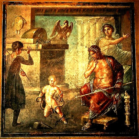 Ercole strangola i serpenti. Pompei - Casa dei Vettii - Sala Oecus Piccola. (Hercules Drakonopnigon)