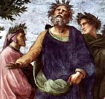 Omero con Dante alla sua destra e Virgilio alla sua sinistra. Particolare del Parnaso di Raffaello; Stanza della Segnatura, Città del Vaticano (1509/1510 ca.)