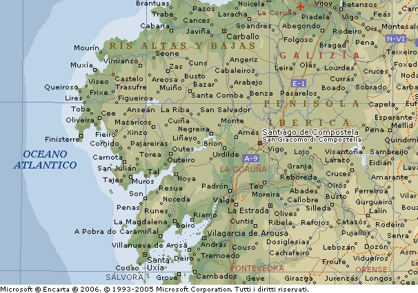 Spagna Galizia Cartina.Santiago Di Compostela